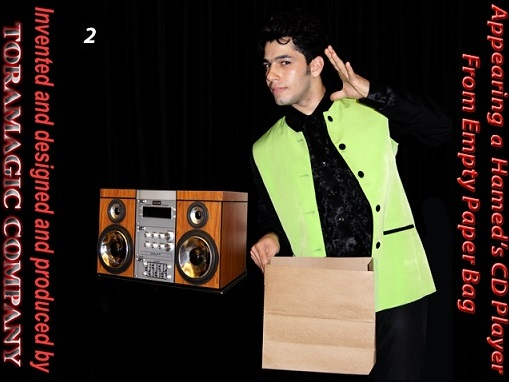 Appearing-a-Hamed-CD-Player-from-Empty-Paper-Bag