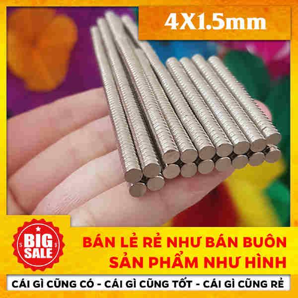 Nam Châm Vĩnh Cửu Hình Tròn - Viên Trắng Neodymium N35 D4 x 1,5mm (25)